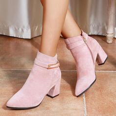Pentru Femei PU Toc gros Botine Cu vârful cu Cataramă Fermoar Altele pantofi