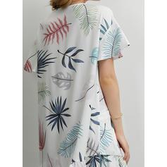 Estampado Manga Curta Shift Comprimento do joelho Casual/Férias T-shirt Vestidos