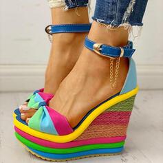 De mujer Lona Tipo de tacón Sandalias Encaje con Hebilla Color de empalme zapatos
