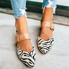 Dla kobiet PU Obcas Slupek Plaskie Zakryte Palce Z Klamra Nadruk Zwierzęcy obuwie