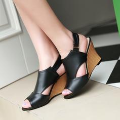 Dla kobiet Skóra ekologiczna Obcas Koturnowy Sandały Koturny Otwarty Nosek Buta Bez Pięty Z Tkanina Wypalana obuwie