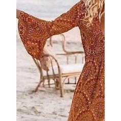 Print Long Sleeves/Flare Sleeves A-line Skater Boho/Vacation Maxi Dresses