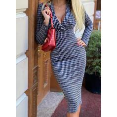Kostkovaný Dlouhé rukávy Přiléhavé Délka ke kolenům Elegantní Tužky Šaty