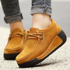 Donna Camoscio Zeppe Piattaforma Punta chiusa Zeppe con Allacciato scarpe