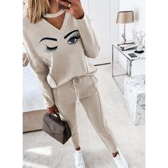 Oční tisk Neformální handsstring Kalhoty Dvoudílné outfity