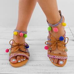 De mujer PU Tacón plano Sandalias Encaje con Rivet Cordones zapatos