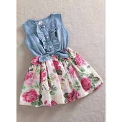 Chicas Cuello redondo Floral Impresión Volantes Casual Lindo Vestido