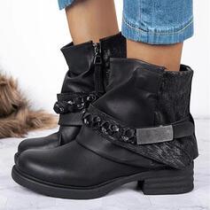Dámské PU Široký podpatek Platforma Kotníkové Boty Martin boty Kolem špičky S Flitr Nabírané Řetízkový Suchý zip Solid Color obuv