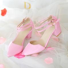 De mujer Piel brillante Tacón ancho Sandalias Salón Cerrados Mary Jane con Hebilla zapatos