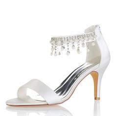 Frauen Seide wie Satin Stöckel Absatz Peep-Toe Absatzschuhe Sandalen mit Quaste