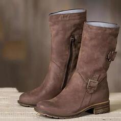 Mulheres Couro Salto baixo Botas na panturrilha com Fivela Zíper Cor sólida sapatos