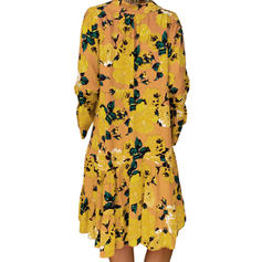 Print/Floral Long Sleeves Shift Above Knee Casual/Boho/Vacation Tunic Dresses