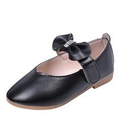 Muchacha Kunstleder Encaje Punta Cerrada Planos Zapatos de niña de las flores con Bowknot Velcro