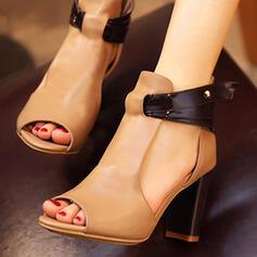 De mujer Cuero Tacón ancho Sandalias zapatos