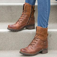 Vrouwen Kunstleer Low Heel Enkel Laarzen Ronde neus met Vastrijgen schoenen