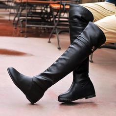 Pentru Femei Imitaţie de Piele Fară Toc Balerini Închis la vârf Cizme Cizme până la genunchi Gizme Peste Genunchi Cizme de Călărit cu Cataramă pantofi