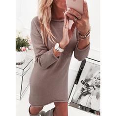 Sólido Gola Redonda Casual Longo Camisola-vestido