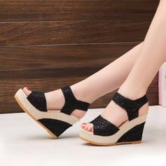 De mujer PU Tipo de tacón Sandalias Plataforma Cuñas Encaje con Velcro zapatos