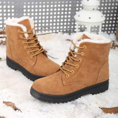 Women's Suede Low Heel Snow Boots Winter Boots With Lace-up shoes