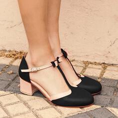 Bayanlar PU Tıknaz Topuk Pompalar Kapalı Toe Ile Toka ayakkabı