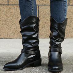 De mujer PU Tacón ancho Botas Martin botas con Hebilla Color sólido zapatos