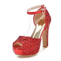 De mujer Brillo Chispeante Tacón ancho Sandalias Salón Plataforma Encaje con Hebilla zapatos