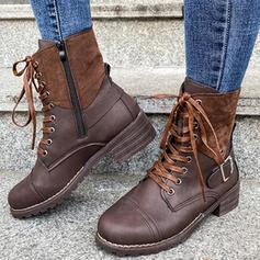 Pentru Femei PU Toc gros Ghete Martin Deget rotund cu Cataramă Lace-up pantofi