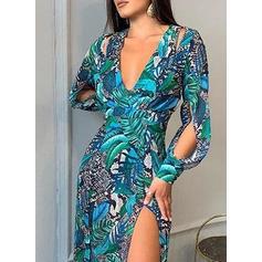 Print Long Sleeves/Split Sleeve A-line Skater Party Maxi Dresses