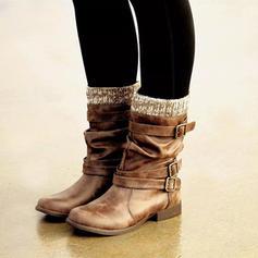 Mulheres PU Sem salto Botas Botas na panturrilha com Fivela sapatos