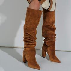 Donna Camoscio Tacco spesso Stivali sopra il ginocchio Stivali invernali Stivali da neve con Colore solido scarpe