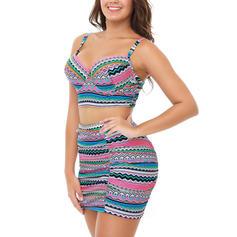 Kostice Tisk Na ramínka Elegantní Plus mărimea Bikiny Costume de baie