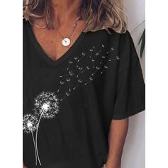 Nadruk Dekolt w kształcie litery V Rękaw 3/4 Casual T-shirty