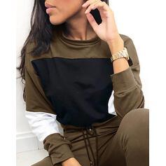 Cuello Redondo Manga Larga Bloque de color Deportes Conjuntos de top y pantalones