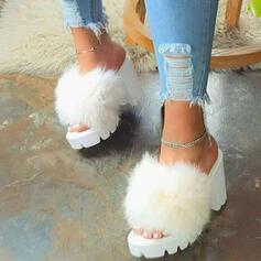 Donna Pelliccia finta Tacco spesso Sandalo Punta aperta con Pelliccia Colore giuntura scarpe