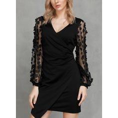 Solid Long Sleeves Bodycon Above Knee Little Black/Casual/Party/Elegant Dresses