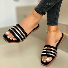De mujer PVC Tacón plano Sandalias Encaje Pantuflas con Color de empalme zapatos