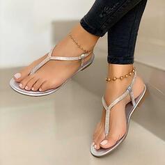 De mujer PU Tacón plano Sandalias Planos Encaje con Crystal zapatos