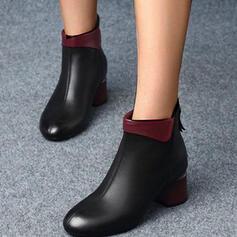 Женский PU Толстый каблук Ботильоны с Молния Сплошной цвет обувь