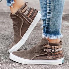 Pentru Femei Material Fară Toc Botine Deget rotund cu Cataramă Fermoar pantofi