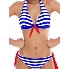 Proužek Nízký pas Ke krku Elegantní Bikiny Costume de baie