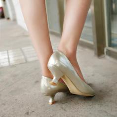 Mulheres Couro Brilhante Salto agulha Bombas Fechados com Outros sapatos