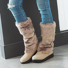De mujer PU Tacón bajo Botas longitud media Botas de nieve con Piel Sintética zapatos