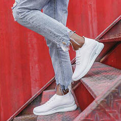 De mujer Tela Tacón plano Planos Top bajo Encaje Zapatillas con Cordones Raya zapatos