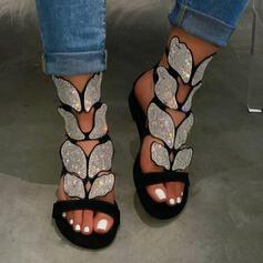 De mujer Cuero Tacón plano Sandalias Encaje Solo correa con Rhinestone zapatos