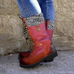 De mujer PU Tacón bajo Botas longitud media Martin botas con Cremallera Cordones zapatos