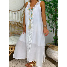 Lace/Solid Sleeveless Shift Tank Little Black/Casual/Vacation Maxi Dresses