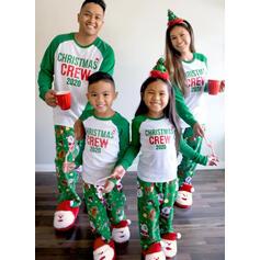 Santa Claus Color Block Dopis Rodinné odpovídající Vánoční pyžama