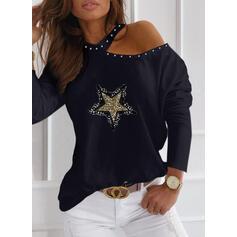 Paillettes In rilievo Una spalla Maniche lunghe Casuale Camicie