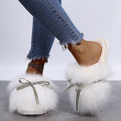 Women's Fake fur Flat Heel Sandals Slippers With Bowknot Faux-Fur Solid Color shoes