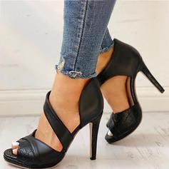 Γυναίκες PU Ψηλό τακούνι Γοβάκια Ανοιχτά σανδάλια toe Με Έλασε παπούτσια